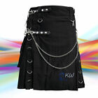 New Scottish Black Wedding Kilt Men Modern Utility Kilt with chain 100% Cotton