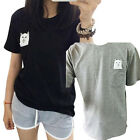 US Women Middle Funny Finger Pocket Cat T-shirt Summer Short Sleeve Tops Tee new