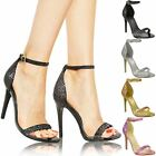 New Womens Ladies Barely There Prom High Heels Party Sandals Glitter Shoes Size