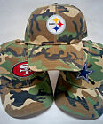 NFL Applique Logos Heat Applied on Camo cap hat. Adjustable. PICK YOUR TEAM!!