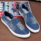 Men's Casual Slip On Loafters Low Top Destroyed Hole Denim Canvas Sneakers Shoes