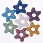 35mm Hollow star Lava Stone with 1.2mm Holes Lava bead studs Necklace 5pcs