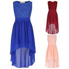 NEW Girls Kids Lace Maxi High-Low Casual Pageant Party Wedding Chiffon Dress HOT