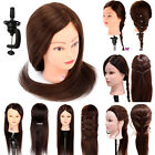 "22"" 100% Real Hair Hairdressing Cut Training Practice Head Mannequin Doll +Clamp"