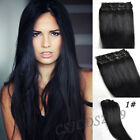 Jet Black #1 Full Head Clip In 100% Real Human Hair Extensions Any Lengths