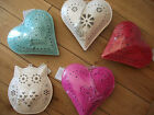 METAL HEART CANDLE TEA T LIGHT HOLDER SHABBY CHIC cream  pink red duck egg blue