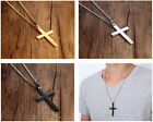 "Mens Stainless Steel Gold Silver Cross Simple Pendant 24"" Cuban Necklace Chain"