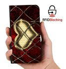 Heart Gold Luxury Flip Cover Wallet Card PU Leather Phone Case Stand Galaxy