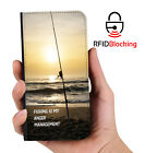 RFID Protected Fishing Anger Mgnt PU Leather Wallet Custom Case for Apple iPhone