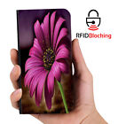 RFID Protected Flower Purple PU Leather Wallet Custom Case Cover Apple iPhone