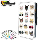 Because Cats Kittens Hipster Retro Sunglasses - LEATHER FLIP PHONE CASE COVER