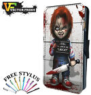 Chucky Childs Play Good Guy Doll Evil Scar - LEATHER FLIP PHONE CASE COVER