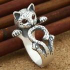 Jewelry Ring Adjustable Silver Plated Cute Little Matte Cat Shape Ring Party Hot