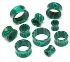 1 PAIR Organic Green Malachite Stone Double Flare Tunnels Gauges