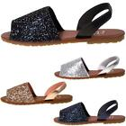 Girls Glitter Slingback Fancy Menorcan Spanish Sandals Summer Beach Party Shoes