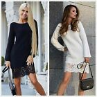New Women Ladies Casual Lace Long Sleeve Cocktail Party Evening Mini Dress S-XL