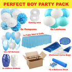 Boy shower party pack decoration set pompoms lanterns balloons stick table cover