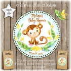 MONKEY NEUTRAL BABY SHOWER BIRTHDAY PARTY PERSONALISED ROUND GLOSS STICKERSx12
