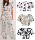 Women Floral Print Crop Open Top Loose Palazzo Trousers (sell separate) Co-Ord