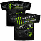 Men's Black Monster Energy NASCAR Cup Series Total Print T-Shirt Brand new M-3XL