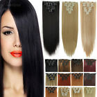 Women Real Thick Long Clip in Hair Extension Full head for Huam Black brown hn98