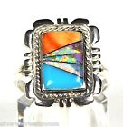 Southwestern Multicolor, Turquoise, Opal Inlay 925 Sterling Silver Ring sz 5-10