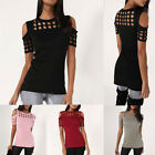 Fashion Women Ladies Cut Out Short Sleeve T-shirt Cold Shoulder Loose Top Blouse