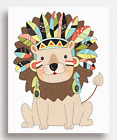 LION PRINT - Tribal Jungle Animal Safari Nursery Wall Art for Child's Bedroom