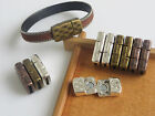 3/5 Sets 10x2mm Hole Hammered Magnetic Clasp for 5mm-10mm Flat Leather Bracelet