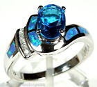 London Blue Topaz & Blue Fire Opal Inlay 925 Sterling Silver Ring size 6,7,9