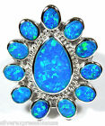 High Quality Blue Fire Opal Inlay Solid .925 Sterling Silver Ring size 6 or 7