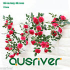 180cm 40 Roses Artificial Fake Flower Vine Garland Hanging Leaf Wedding Decor