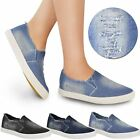 New Womens Ladies Denim Canvas Pumps Flat Slip On Skater Plimsolls Trainers Size