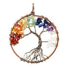 Natural Crystal Quartz Hearling Chakra Handmade Tree Of Life Pendant Necklace