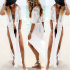 Womens Beach Pool Party Wear Split Long Cover Up Chiffon Sun protections White