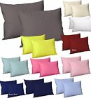 Plain Dyed Pillow Cases Pair Pack Housewife Poly Cotton Cushion Cover 50x75 CM