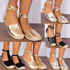 Silver Metallic Wrap Round Studded Ankle Strap Espadrille Flat Sandals Shoe Size