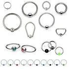 Ball Closure Ring BCR CBR - Lip Nipple Tragus Ear Earring Septum - Gem Captive