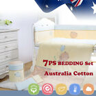 7pcs Baby Crib Bedding set Bumpers Quilt Pillow Cot Sheet Newborn Gift Bear Nurs