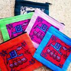 Pretty Elephant  Zipped Cotton Coin Purse Handmade Thailand Traditional Design