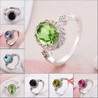 Vintage Colorful Sapphire Wedding Ring Women's silver Gold Filled Size 6-9