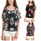 Womens Cut out Cold Shoulder Printed Batwing Sleeve T-shirt  Loose Tops Blouse