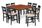 "M&D FURNITURE 54"" SQUARE COUNTER HEIGHT DINING ROOM TABLE PUB CHAIR SET"