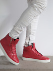 883 Police Mens Force Red Shoes Trainers Fabric Lining Hi Top Rubber Sole