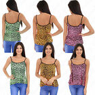 Womens Ladies Neon Multi Colour Leopard Printed Cami Strappy T Shirt Vest Top