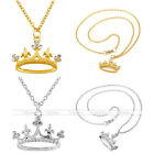 "21"" Women Girl's Crown Rhinestone Pendant Chain Necklace Jewerly Mother's Gift"