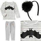 New Gymboree Crazy 8 Girl Tee Pants Hair Accessory Bat Halloween 3pcs Outfit 2T