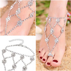 Women Feet accessory Gifts Retro Bling Bling Rhinestone Anklets with Toe Ring