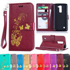 Leather Butterfly Patterned Stand Flip Card Slots Case Cover For LG K5 K7 K8 K10