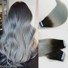 7A Brazilian Remy Human Hair Extensions Seamless Tape in Weft Ombre Hair 1/Grey